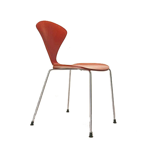 orange side chair upholstered bedroom with arms norman cherner stacking chrome base stella seat