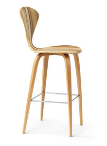 Norman Cherner Counter Bar Stool Wooden Base in Red Gum  Stardust