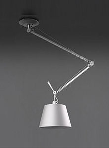 grey sofa chaise lounge bed artemide tolomeo off-center ceiling mounted lamp | stardust