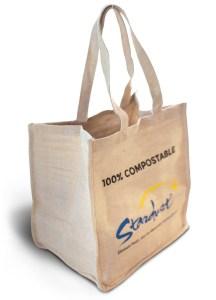 100% compostable stardust grocery bag - side angle