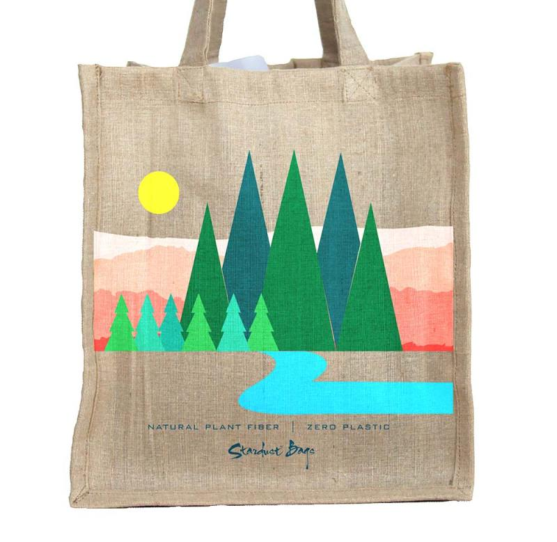 Mountains reusable compostable jute shopping grocery bag