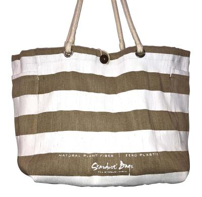White Stripes beach bag design - compostable jute