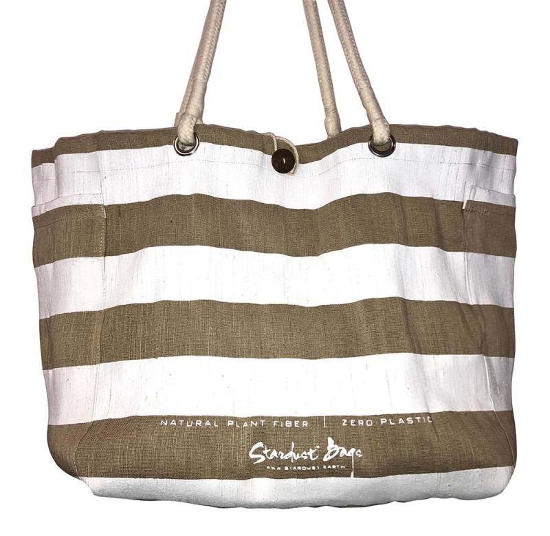 White Stripes beach bag design - compostable jute