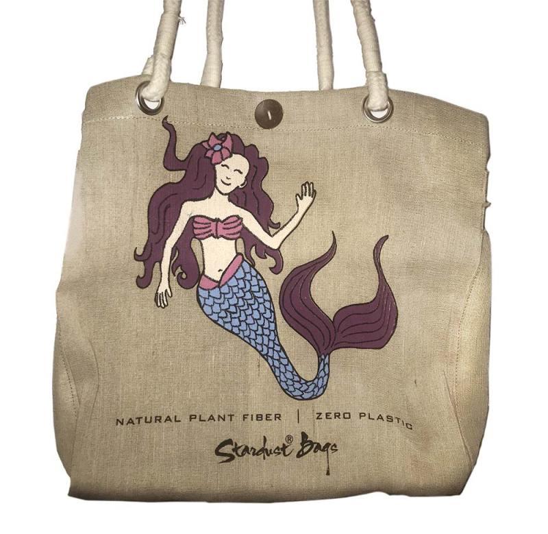 Mermaid beach bag design - compostable jute