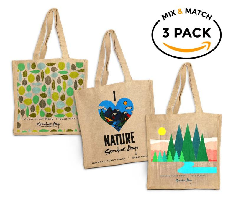 mix and match compostable grocery bag 3 pack by stardust sustainables