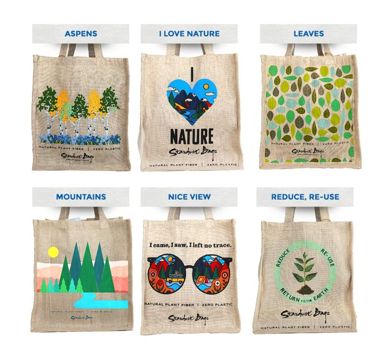 Stardust grocery bag designs: Aspens, I Love Nature, Leaves, Mountains, Nice View, Reduce, Re-Use
