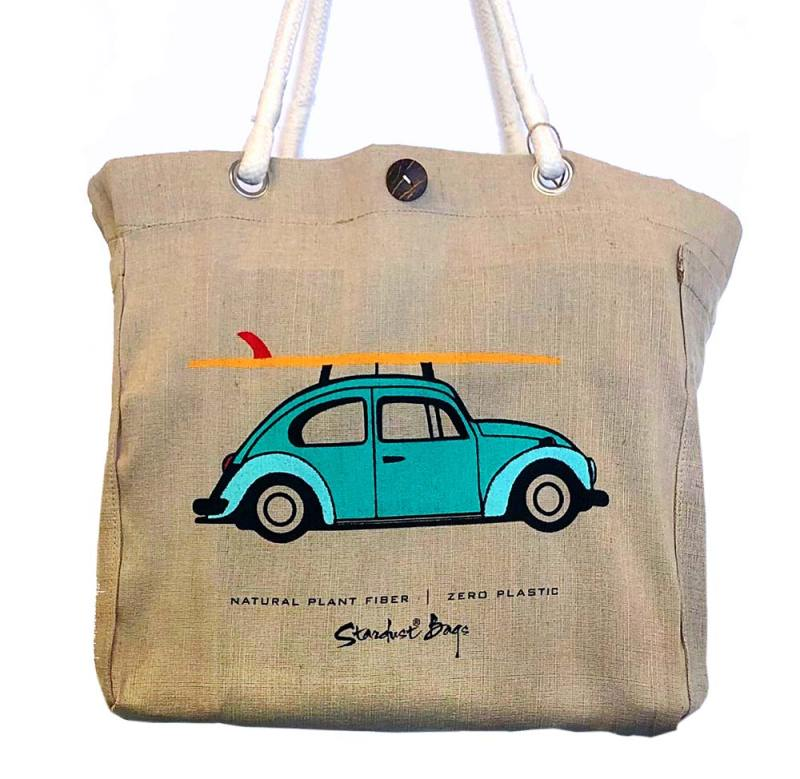 Surf beach bag design - compostable jute