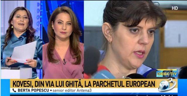 Antena 3, colecţie de titluri jegoase despre alegerea Codruţei Kovesi