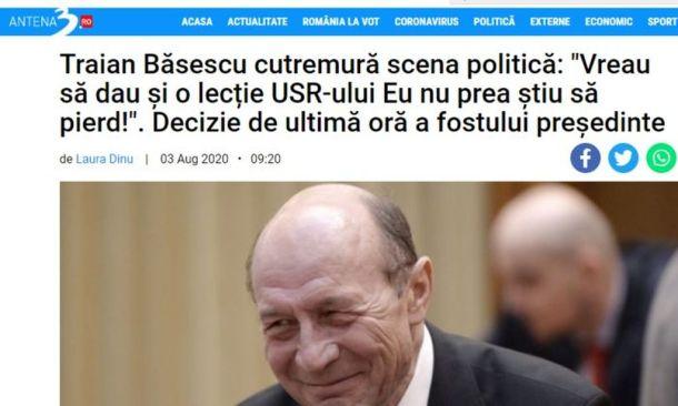 Antena 3 susţine candidatura lui Băsescu la Primăria Generală