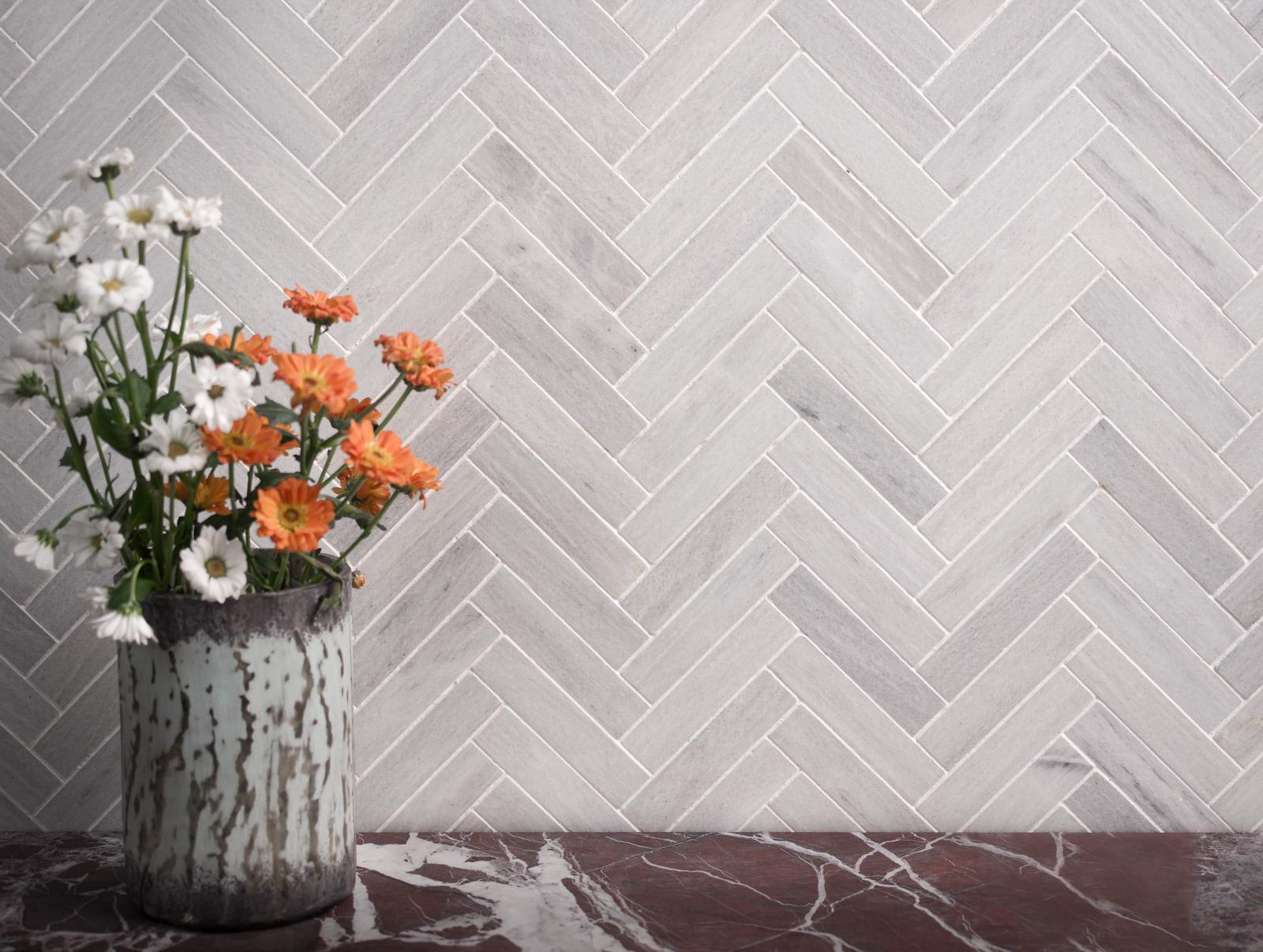 ice grey marble herringbone mosaic