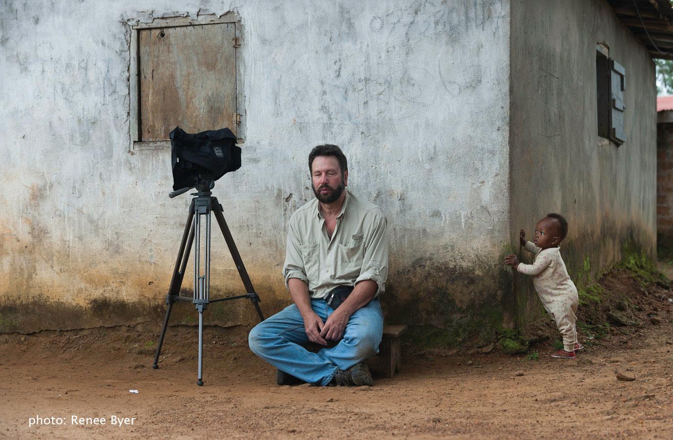 George Rosenfeld meditating, Liberia 2010