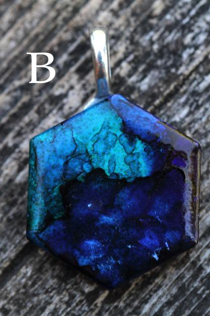 Alcohol ink abstract statement pendant OOAK art piece (blue/ocean/water/sea)