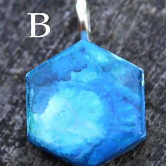 Alcohol ink abstract statement pendant OOAK art piece (blue/sky/clouds/carefree)