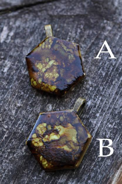 Alcohol ink abstract statement pendant OOAK art piece (brown/golden/tan/earth/soil)
