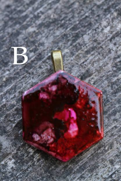 Alcohol ink abstract statement pendant OOAK art piece (red/cherry/blood)