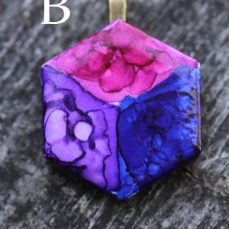 Bisexual alcohol ink statement pendant OOAK wearable art