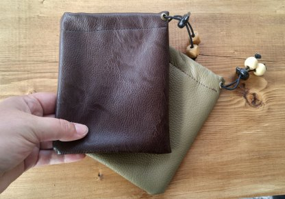 Faux leather pouch, brown or olive