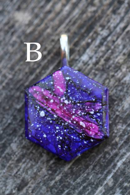 Galaxy statement pendant OOAK wearable art (stars/purple/nebula/space)