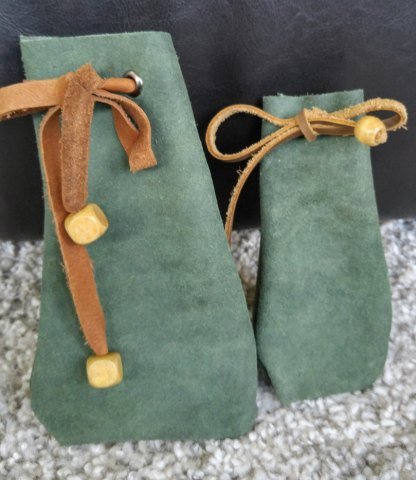 Green suede dice bag (small or large)