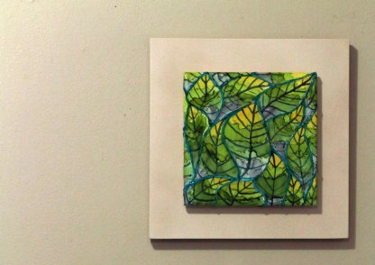 Leafy alcohol ink painting on 6x6 tile (ORIGINAL), ready to hang