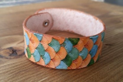 Multicolored scaled mermaid leather cuff/bracelet
