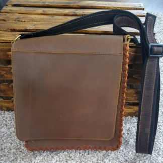 Suede stitched, genuine stone-oiled leather unisex satchel/bag/purse with adjustable strap