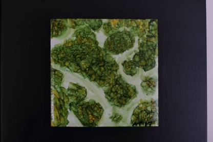 """Original 3x3"""" tile alcohol ink painting (""""Aerial Canopy""""), ready to hang art"""