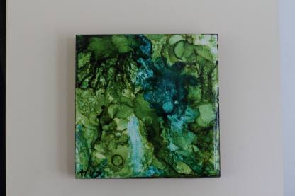 "Original 3x3"" tile alcohol ink painting (""Green Splash""), ready to hang art"