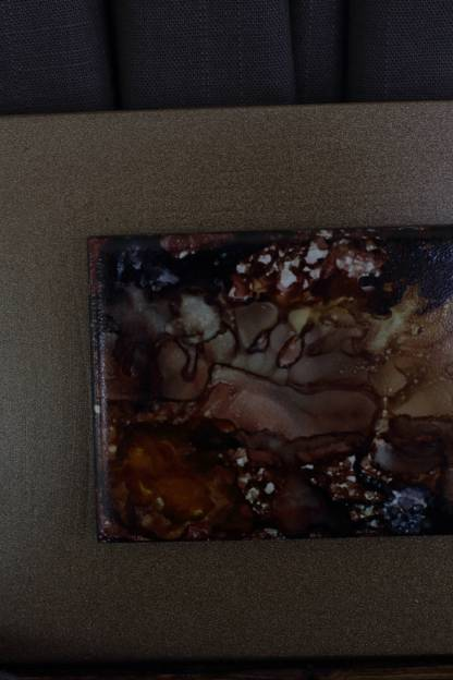 "Original 3x6 tile alcohol ink painting (""Deep Earth""), ready to hang art"