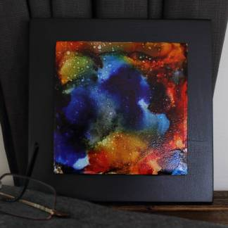 """Original 4x4"""" tile alcohol ink painting (""""Carefree""""), ready to hang art"""