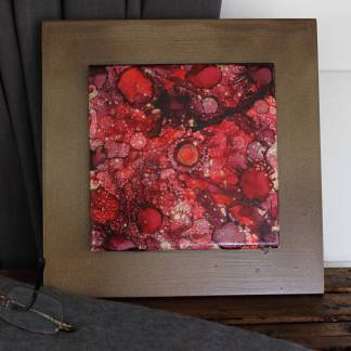 "Original 6x6 tile alcohol ink painting (""Red & Gold""), ready to hang art"