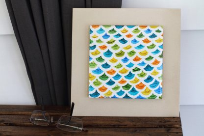 """Original 6x6 tile alcohol ink painting (""""Scaled""""), ready to hang art"""