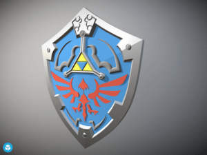 A 3d render of Link's Hylian Shield