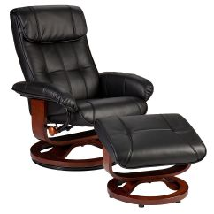 Euro Recliner Chair Hanging Range Holly Martin Bryce Style And Ottoman In Black Bonded Leather