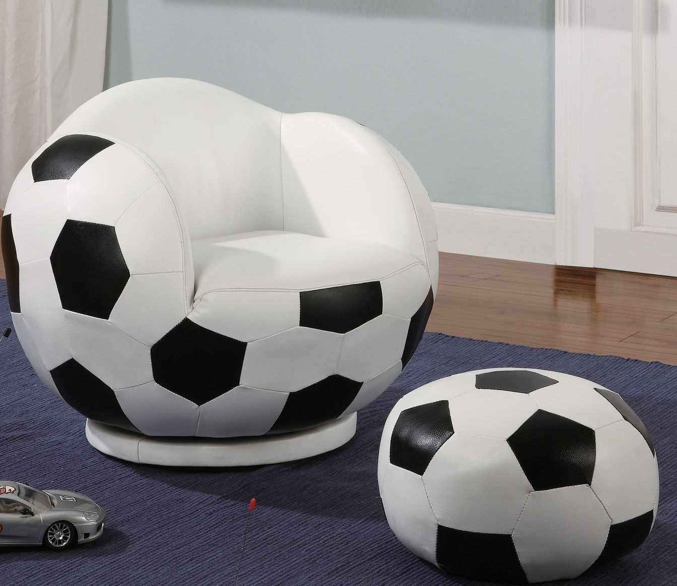 kids chair and ottoman brown leather chaise lounge small soccer stargate cinema