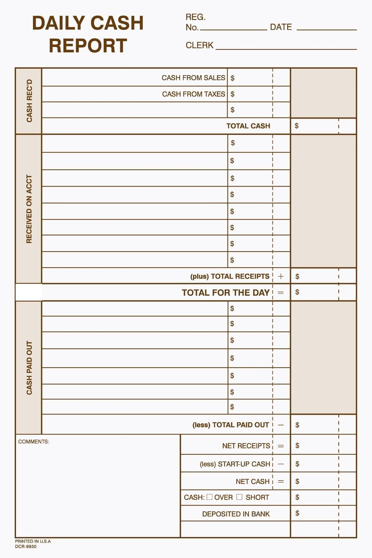 Daily Cash Report Envelope Free Shipping