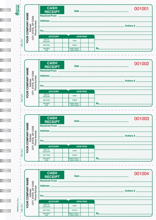 Cash Receipt Books 4 up to page CRB-120-3