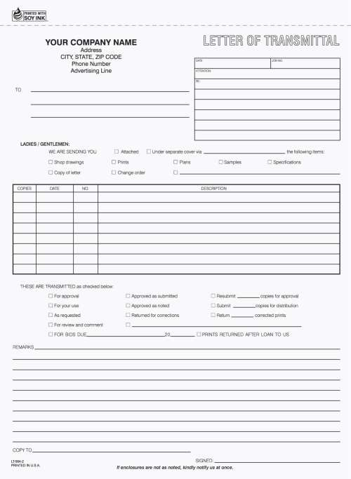 2 Part Contractor Service Letter Of Transmittal Form