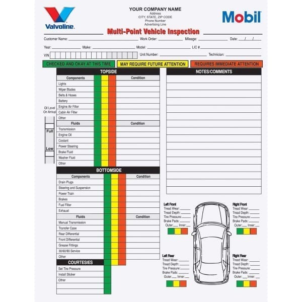2 Part Multi-Point Vehicle Inspection Forms Carbonless