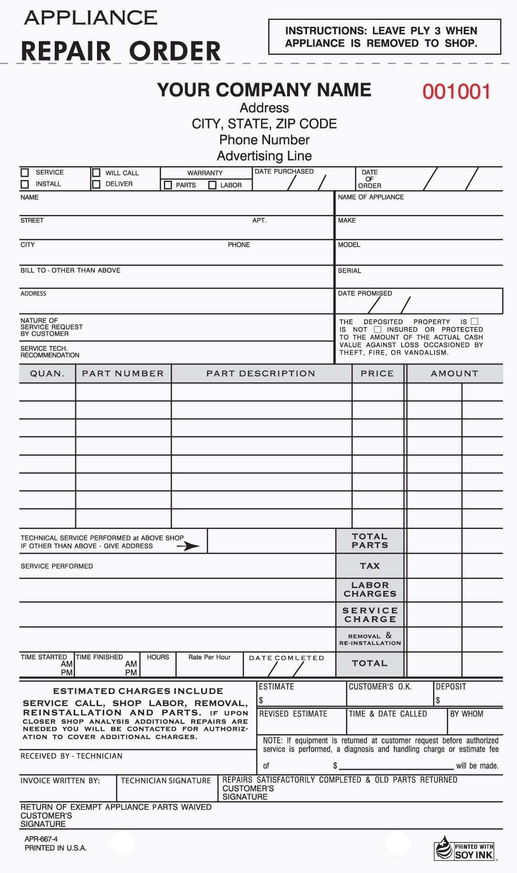 4 Part Appliance Repair Form