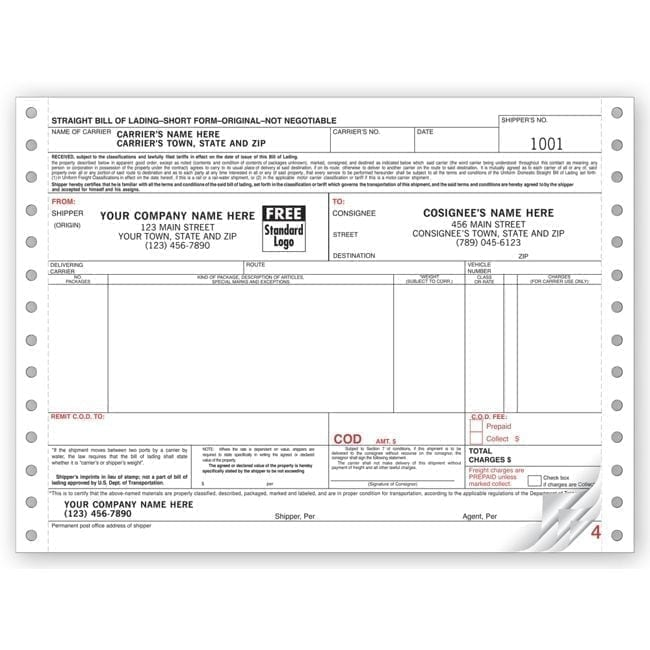 Continuous Bill of Lading Form 13862