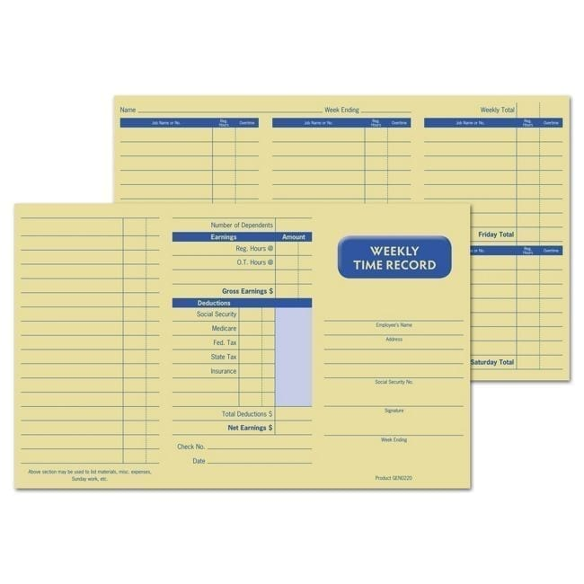 Small Weekly Time Record Cards