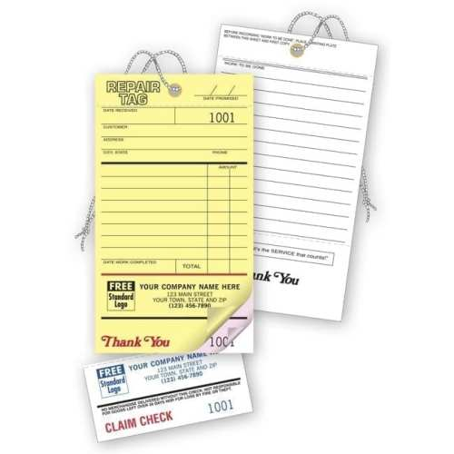 2 part invoice with tear off tag 306