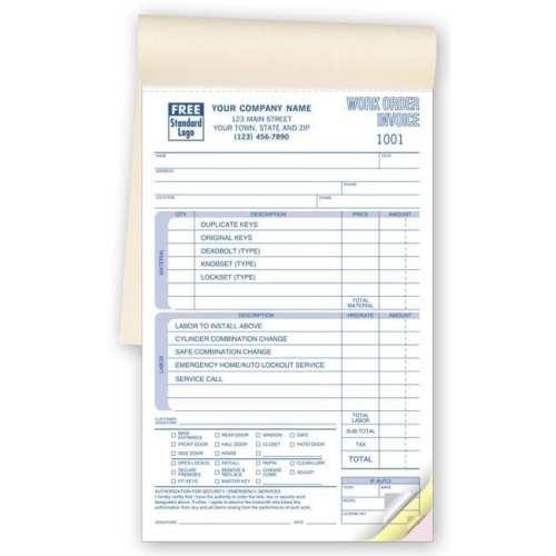 locksmith invoice forms