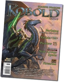 The cover of KQ #22, depicting a woman in plate armor with a glowing green sword astride a silver dragon
