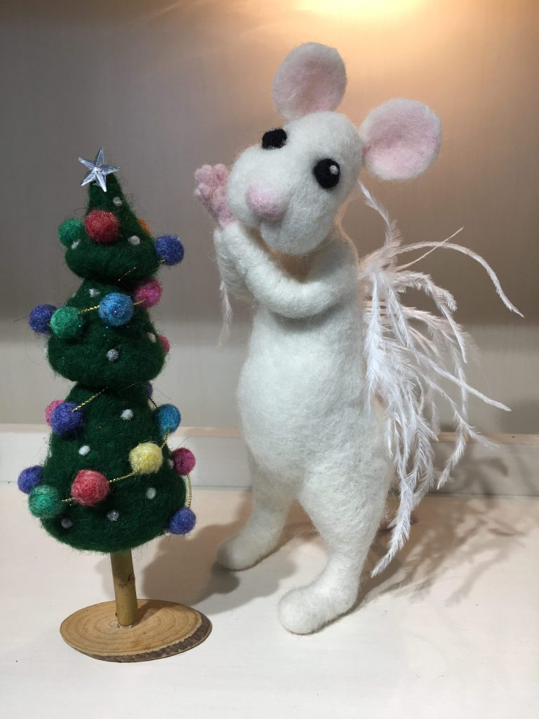 needle felted mouse with feather wings and christmas tree