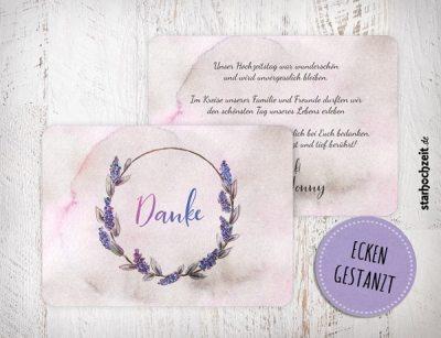 Dankeskarten Hochzeit, Dankeskarte, Danksagungskarte Susan und Jonny 2Seiten quer , Ecken veredelt, abgerundet