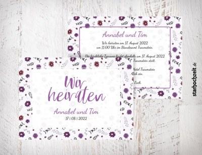 Hochzeitseinladungen mit Wildblumen-Motiv in natürlichen Farbtönen von Violett und Beere - zweiseitige Karte – Format DIN A6 quer, Natürlicher Look, passt zu deiner Hochzeit im Natur-Stil oder auch Boho-Stil. Auf dem Foto sind zu sehen sind die Vorderseite und ein Teil der Rückseite. Die Hochzeitskarten können einfach auf starhochzeit.de online gestaltet werden. Wir haben auch passende Kuverts.
