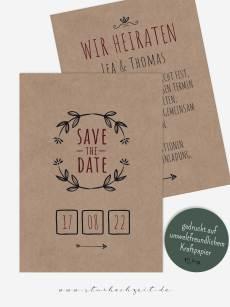 Save-the-Date Karten – Vintage Kraftpapier Natur dina6-hochformat-vorderseite Die Karte besteht aus echtem Kraftpapier. Blumen-Muster, Muster-Texte und Farben können verändert werden.