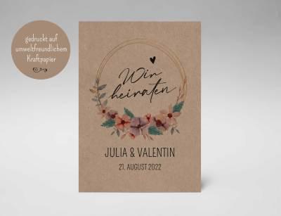 Einladungskarten Hochzeit Kraftpapier, Blumenkranz Aquarell, Hochzeitskarte, Hochzeitseinladungskarten